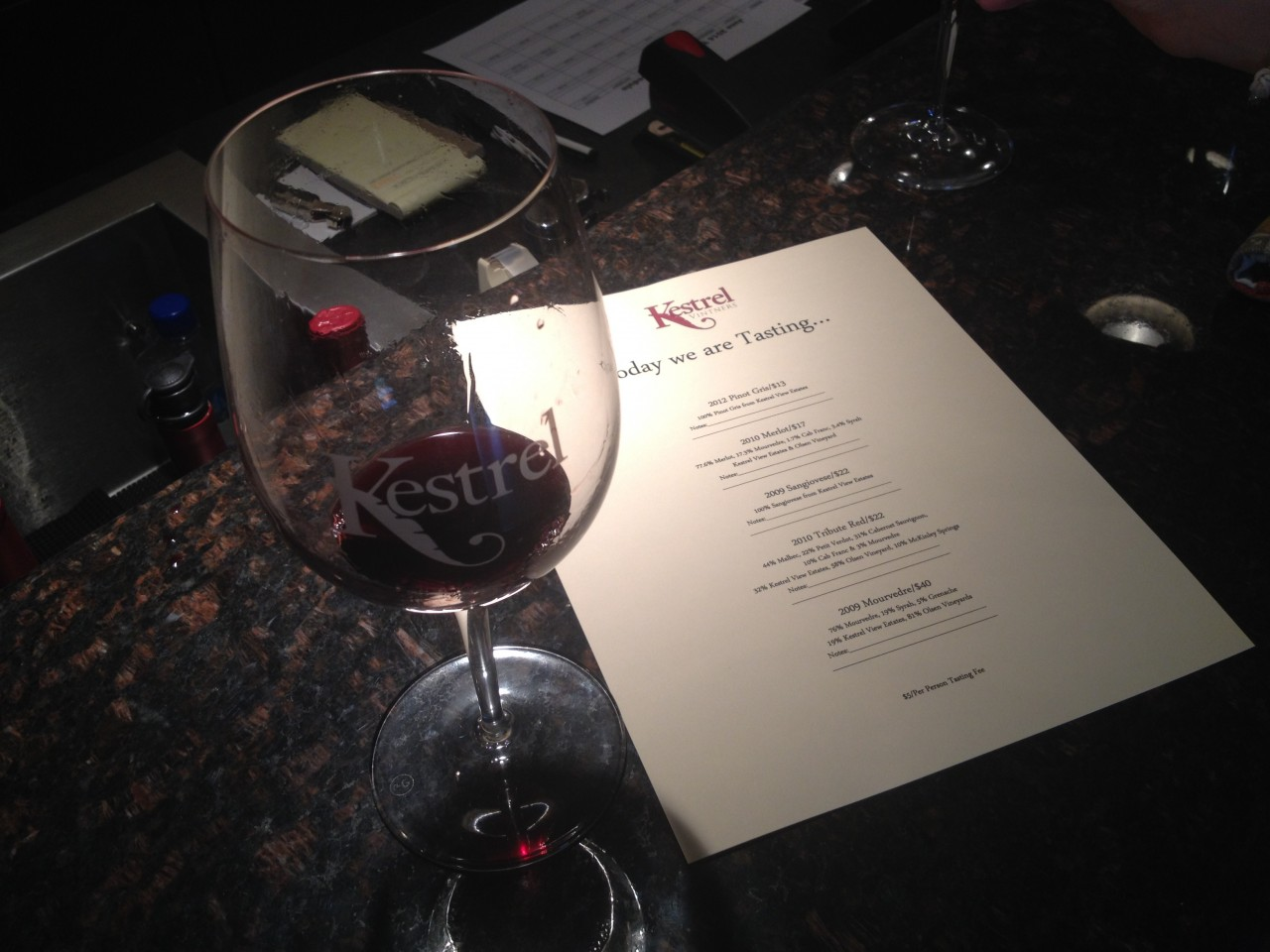 Kestrel wine tasting menu